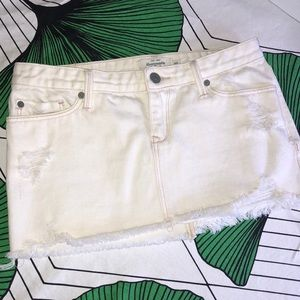 White Jean Mini Skirt